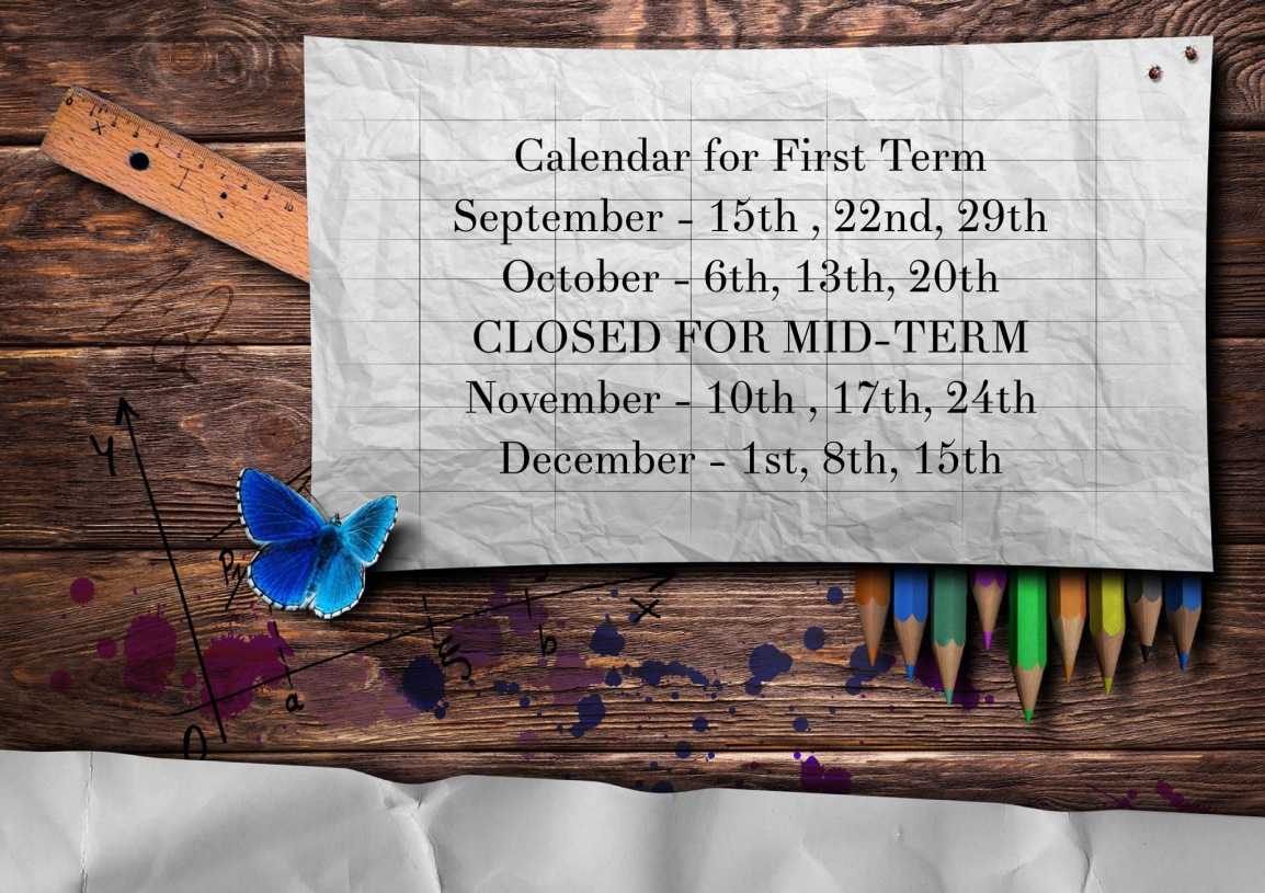 Workshop Calendar for First Term