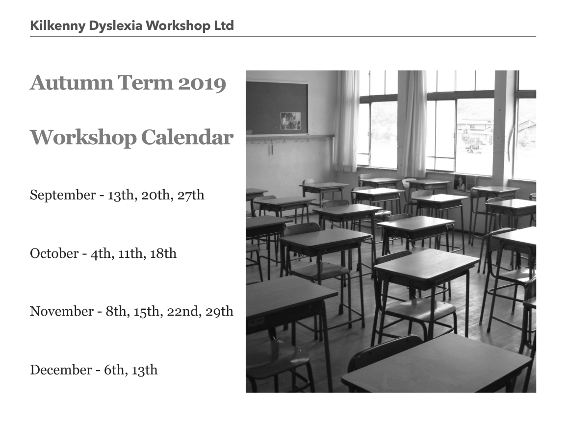 Workshop Calendar – Autumn 2019